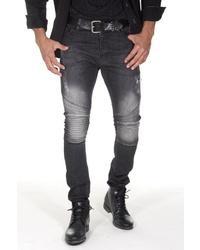 schwarze enge Jeans mit Destroyed-Effekten von EX-PENT