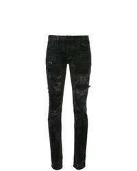 schwarze enge Jeans mit Destroyed-Effekten von Faith Connexion