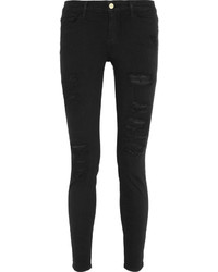 Schwarze Enge Jeans mit Destroyed-Effekten von Frame