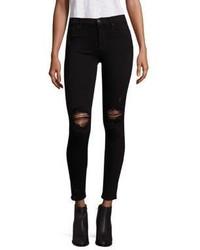 Schwarze Enge Jeans mit Destroyed-Effekten von Hudson