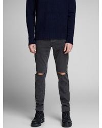 schwarze enge Jeans mit Destroyed-Effekten von Jack & Jones