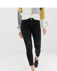 schwarze enge Jeans mit Destroyed-Effekten von Miss Selfridge Petite