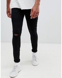 schwarze enge Jeans mit Destroyed-Effekten von New Look