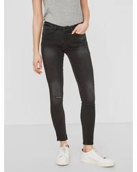 schwarze enge Jeans mit Destroyed-Effekten von Noisy May