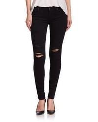 Schwarze Enge Jeans mit Destroyed-Effekten von Paige