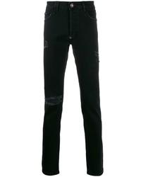 schwarze enge Jeans mit Destroyed-Effekten von Philipp Plein