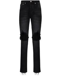 schwarze enge Jeans mit Destroyed-Effekten von purple brand