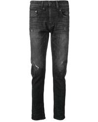 schwarze enge Jeans mit Destroyed-Effekten von R13
