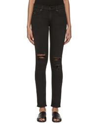 schwarze enge Jeans mit Destroyed-Effekten von Rag & Bone