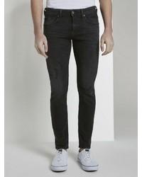 schwarze enge Jeans mit Destroyed-Effekten von Tom Tailor Denim
