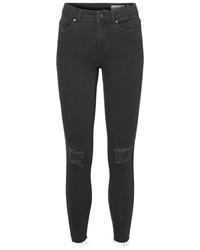 schwarze enge Jeans mit Destroyed-Effekten von Vero Moda