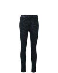 schwarze enge Jeans mit Schlangenmuster
