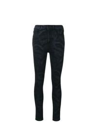 schwarze enge Jeans mit Schlangenmuster von Marcelo Burlon County of Milan