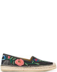 schwarze Espadrilles mit Blumenmuster von Gucci