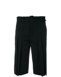 schwarze Bermuda-Shorts mit Falten von Saint Laurent