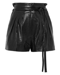 schwarze Ledershorts mit Falten von IRO