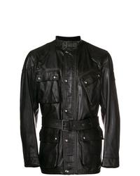 schwarze Feldjacke aus Leder von Belstaff