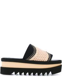 schwarze flache Sandalen aus Häkel von Stella McCartney