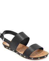 schwarze flache Sandalen aus Leder