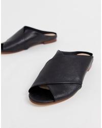 schwarze flache Sandalen aus Leder von Aldo