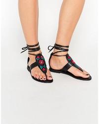 Schwarze Flache Sandalen aus Leder von Asos
