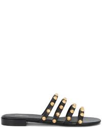 schwarze flache Sandalen aus Leder von Balenciaga