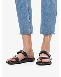 schwarze flache Sandalen aus Leder von Bianco