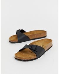 schwarze flache Sandalen aus Leder von Birkenstock
