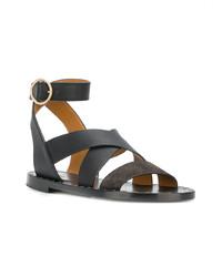 schwarze flache Sandalen aus Leder von Chloé