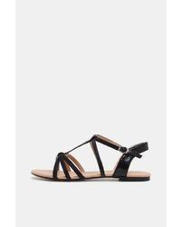 schwarze flache Sandalen aus Leder von Esprit