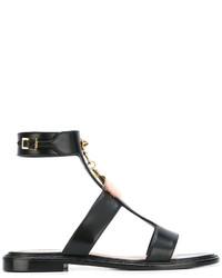 schwarze flache Sandalen aus Leder von Fendi