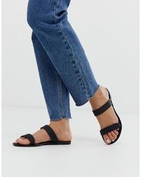 schwarze flache Sandalen aus Leder von Glamorous