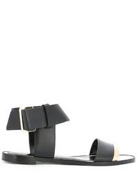 schwarze flache Sandalen aus Leder von Lanvin