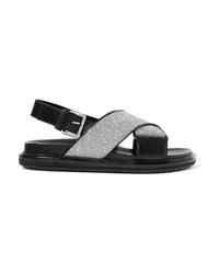 schwarze flache Sandalen aus Leder von Marni