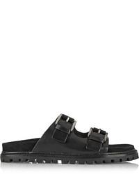 schwarze flache Sandalen aus Leder von Michael Kors