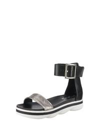 schwarze flache Sandalen aus Leder von Mjus