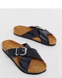 schwarze flache Sandalen aus Leder von New Look