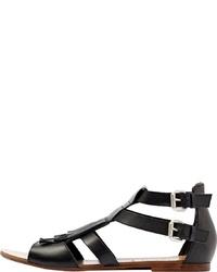 schwarze flache Sandalen aus Leder von PoiLei