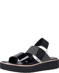schwarze flache Sandalen aus Leder von Rapisardi