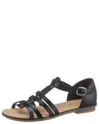 schwarze flache Sandalen aus Leder von Rieker