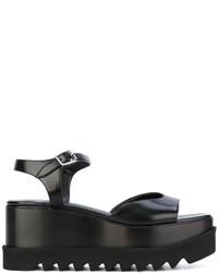 schwarze flache Sandalen aus Leder von Stella McCartney
