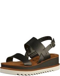 Modische schwarze flache Sandalen aus Leder von Tamaris für