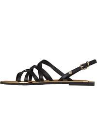 schwarze flache Sandalen aus Leder von Tommy Hilfiger