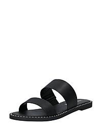 schwarze flache Sandalen aus Leder von Vero Moda
