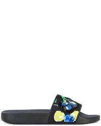 schwarze flache Sandalen aus Pailletten von MSGM