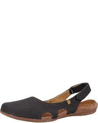 schwarze flache Sandalen aus Segeltuch von El Naturalista