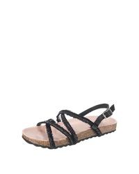 schwarze flache Sandalen aus Segeltuch von Esprit