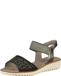 schwarze flache Sandalen aus Segeltuch von Jenny