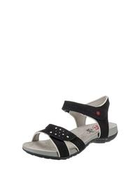 schwarze flache Sandalen aus Segeltuch von Relife