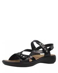 schwarze flache Sandalen aus Segeltuch von Romika